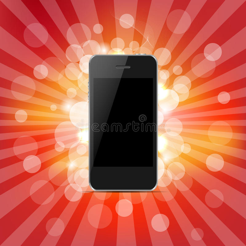 Phone And Red Sunburst royalty free illustration