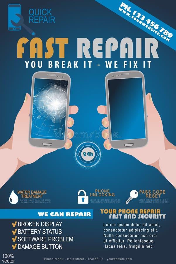 Broken phone in a hand stock vector  Illustration of