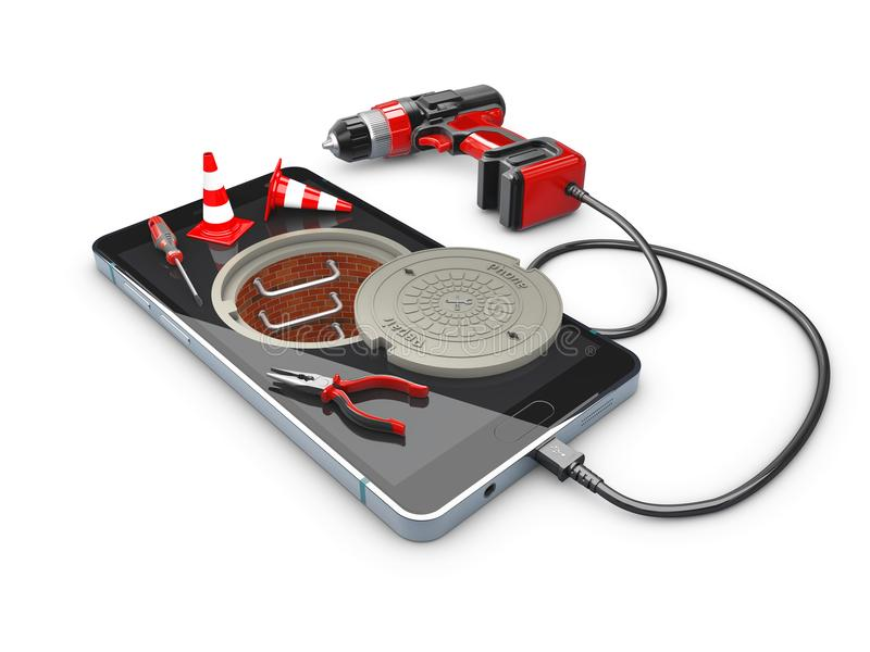 Phone repair and service concept, 3d Illustration.  stock illustration