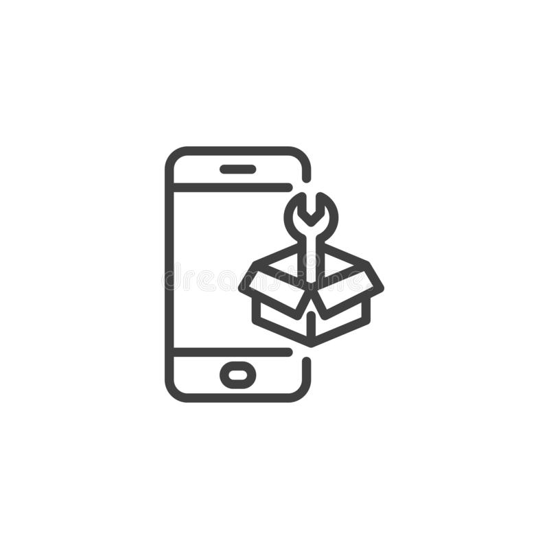 Phone repair service line icon. Linear style sign for mobile concept and web design. Smartphone with tool box outline vector icon. Symbol, logo illustration stock illustration