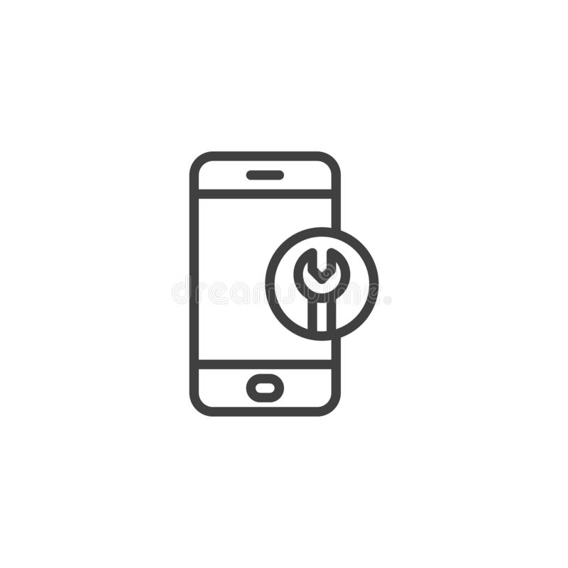 Phone repair service line icon. Linear style sign for mobile concept and web design. Smartphone with wrench outline vector icon. Symbol, logo illustration stock illustration