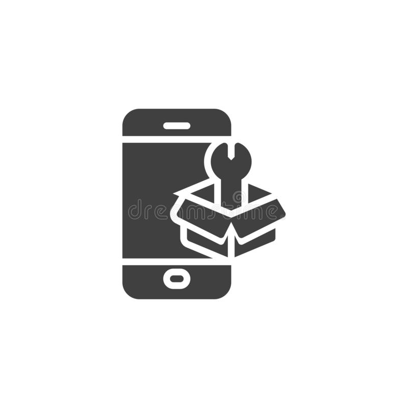Phone repair service vector icon. Filled flat sign for mobile concept and web design. Smartphone with tool box glyph icon. Symbol, logo illustration. Vector vector illustration