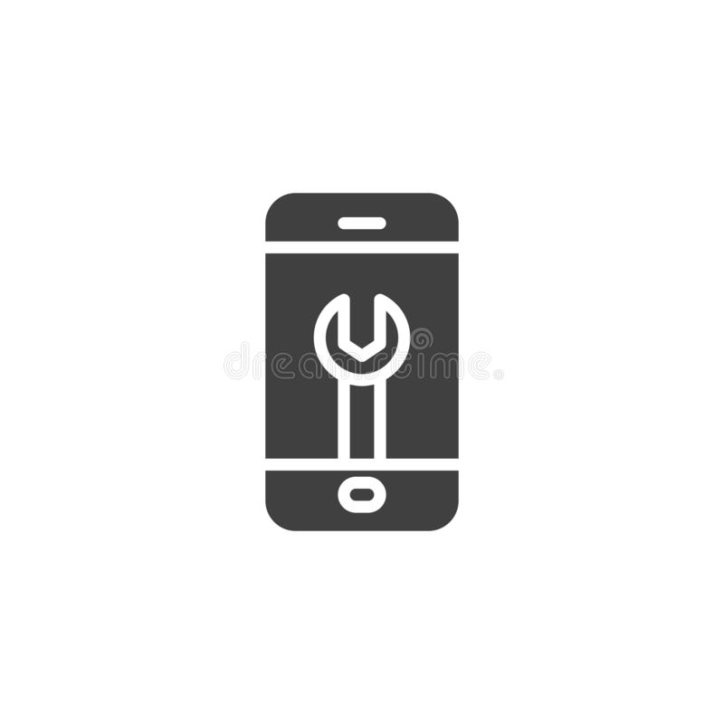 Phone repair vector icon. Filled flat sign for mobile concept and web design. Wrench on mobile phone screen glyph icon. Technical support, settings symbol royalty free illustration