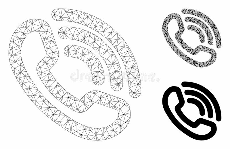 Phone Ring Vector Mesh Carcass Model and Triangle Mosaic Icon. Mesh phone ring model with triangle mosaic icon. Wire carcass polygonal mesh of phone ring. Vector stock illustration