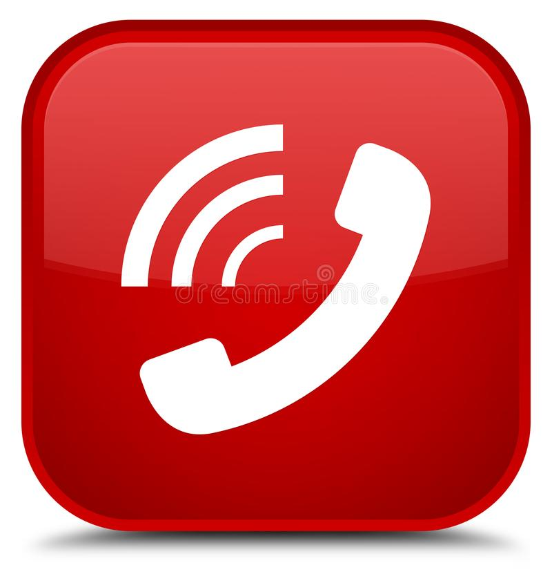 Phone ringing icon special red square button royalty free illustration