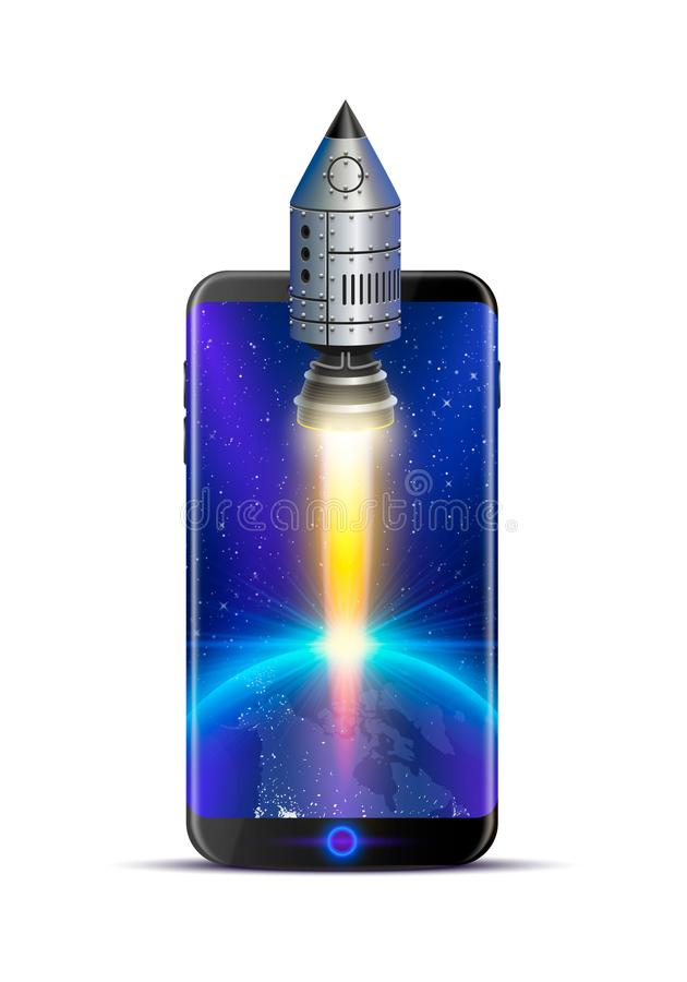 Phone rocket creative idea, object technology. Vector illustration vector illustration
