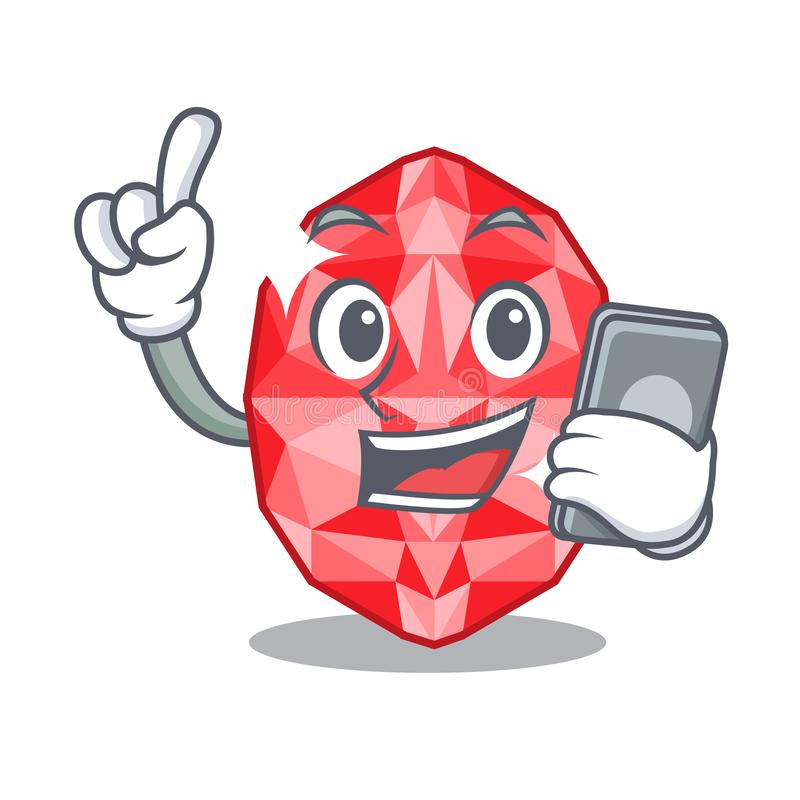 With phone ruby gems in a cartoon box stock illustration