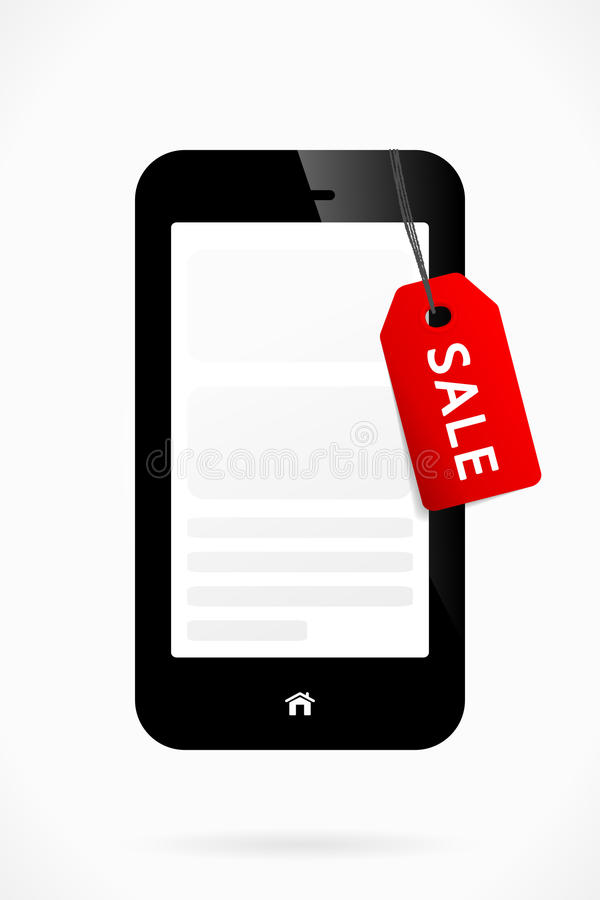 Phone Sale. Red vector sale label on a mobile phone stock illustration