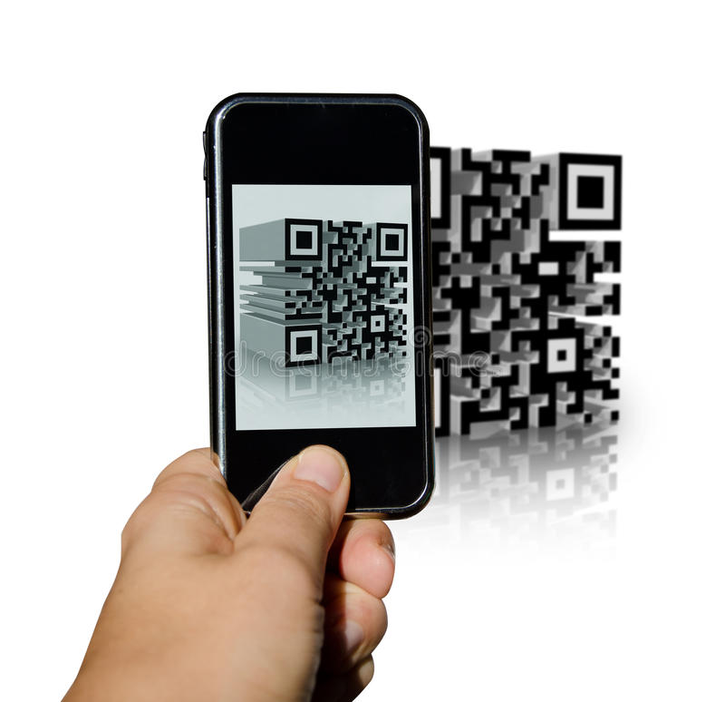Free Phone Scanning A QR Code Stock Image - 27673681