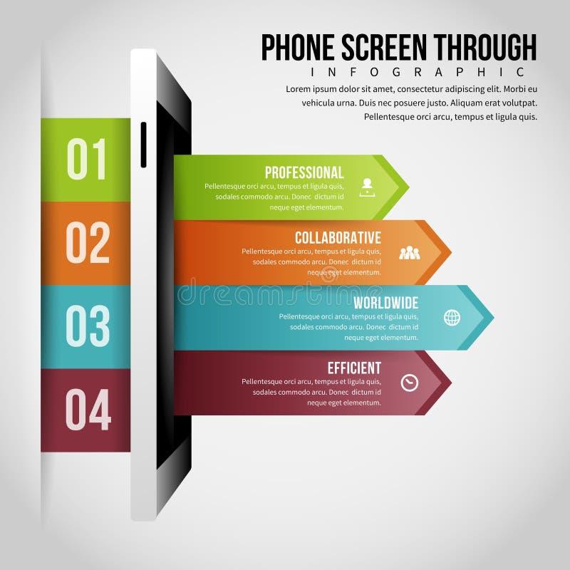 Phone Screen Through Infographic. Vector illustration of phone screen through infographic design element stock illustration