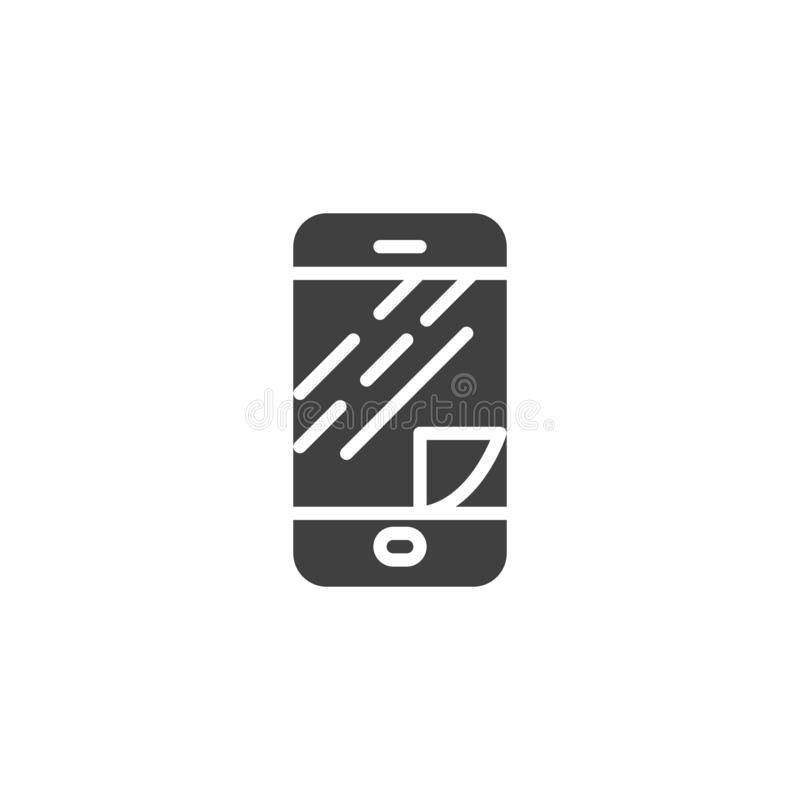 Phone screen protector glass vector icon. Filled flat sign for mobile concept and web design. Smartphone display protect film glyph icon. Symbol, logo stock illustration