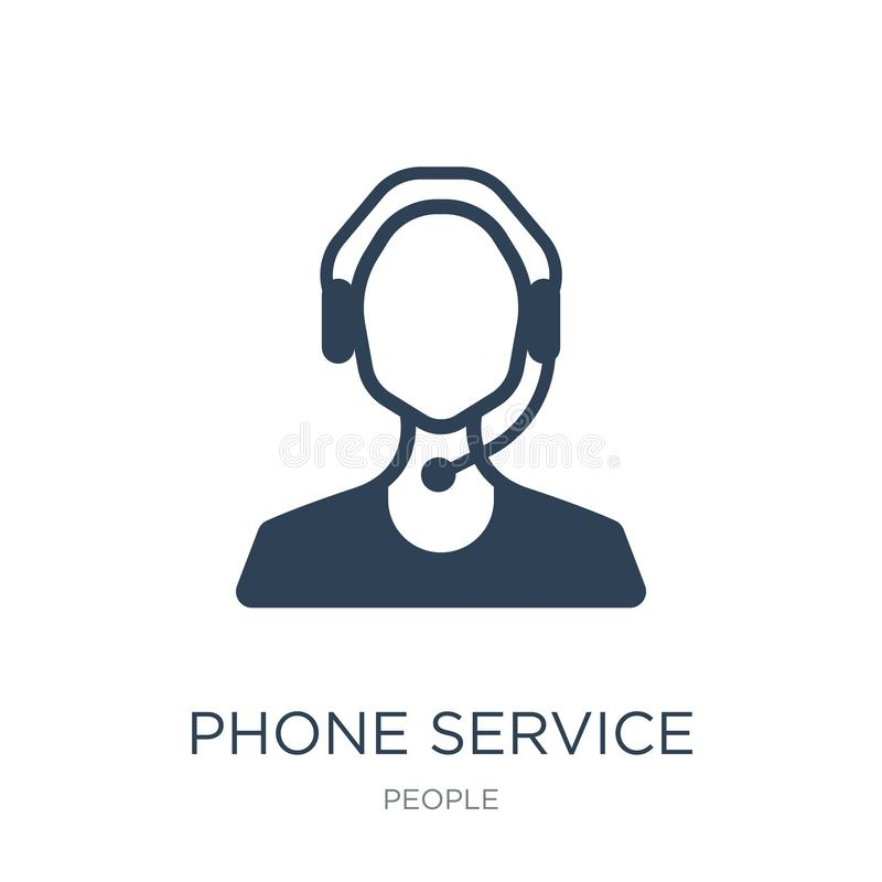 Phone service icon in trendy design style. phone service icon isolated on white background. phone service vector icon simple and. Modern flat symbol for web stock illustration