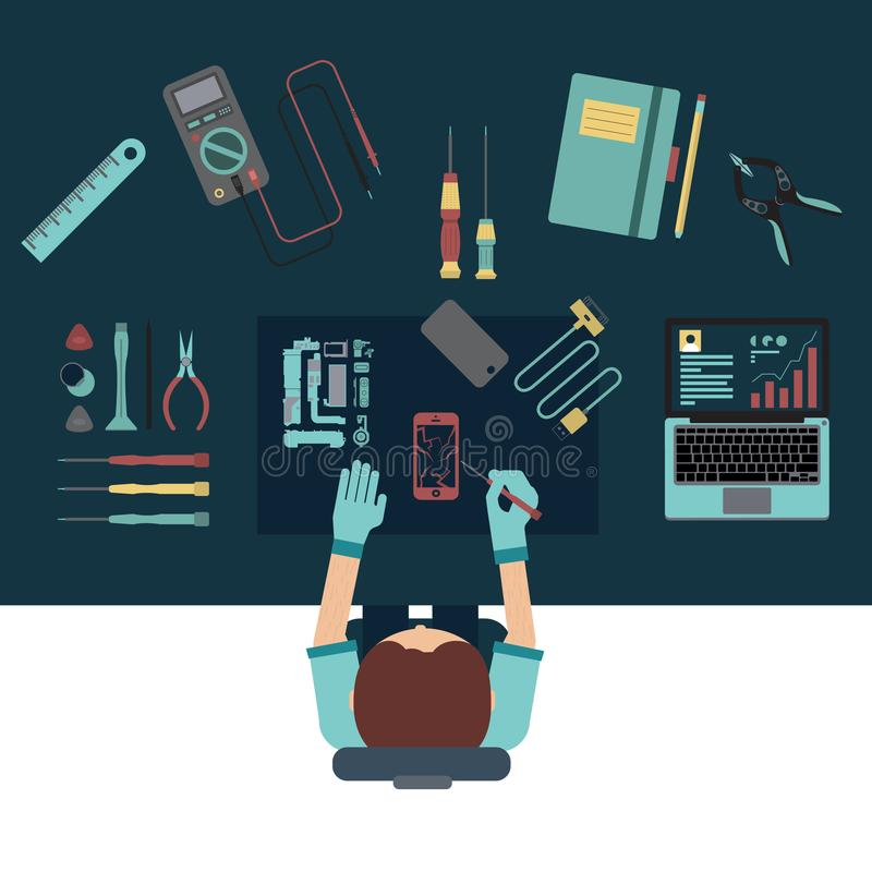 Phone service and repair center concepts. Top view. Flat design vector illustration