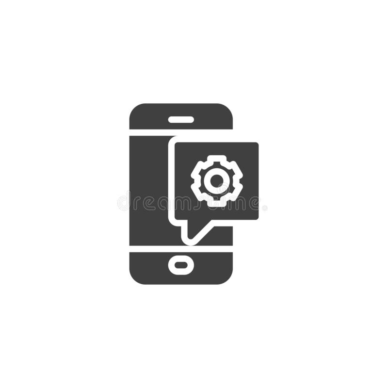 Phone settings notification vector icon. Mobile repair support filled flat sign for mobile concept and web design. Smartphone with gear glyph icon. Symbol royalty free illustration