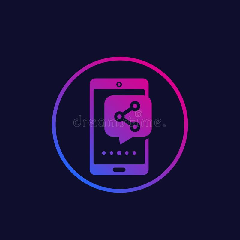 Phone with share notification, vector icon. Eps 10 file, easy to edit royalty free illustration