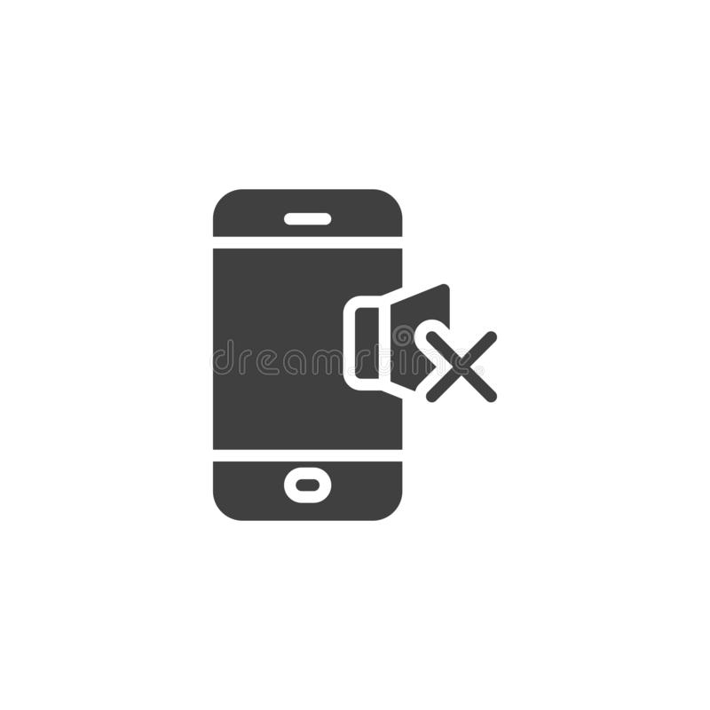 Phone silent mode vector icon. Filled flat sign for mobile concept and web design. Mobile phone volume mute glyph icon. Symbol, logo illustration. Vector vector illustration