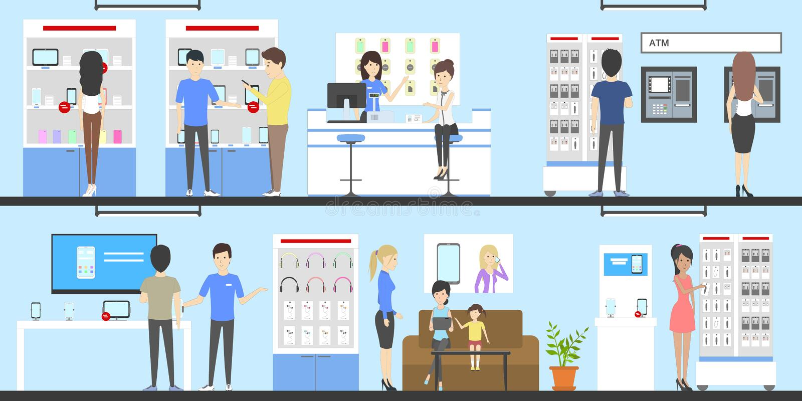 Phone store set. Phone store interior set. Salespersons and buyers. Shelves with phones, tablets and other devices and accessories royalty free illustration