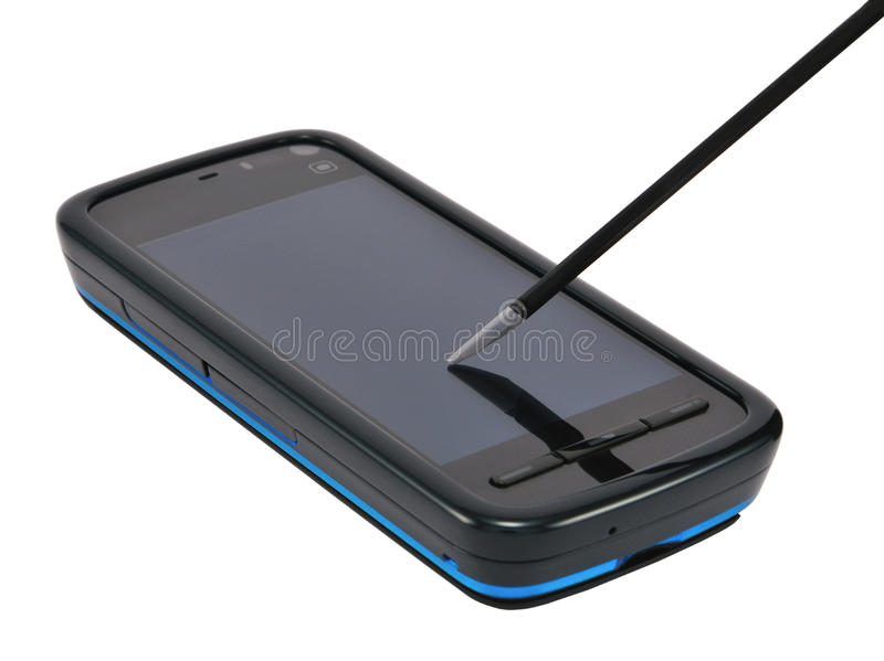 Phone with stylus royalty free stock image