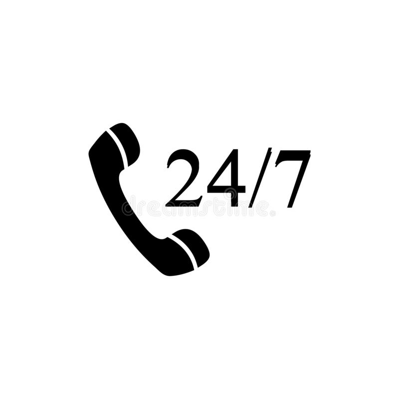 Phone support for free 24 hours 7 days. Customer support icon in black and white. Phone support for free and available 24 hours 7 days. Customer support icon in vector illustration