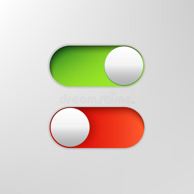 Phone switch icon. On off toggle for design applications. Phone vector slider bar. stock illustration