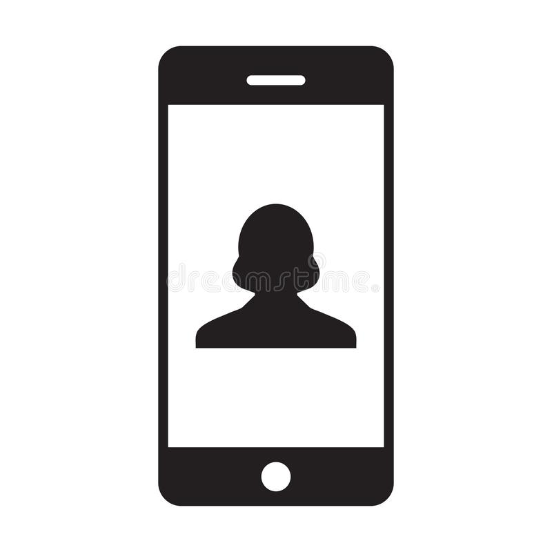 Phone symbol icon vector female person profile avatar with mobile for communication in glyph pictogram. Illustration royalty free illustration