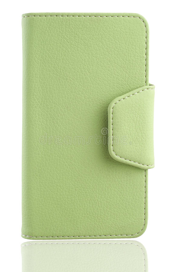 Phone, tablet cover, clutch. Green leather phone cover, clutch, for women or man on the white background royalty free stock image