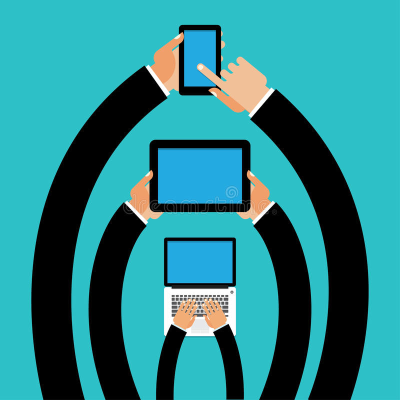 Phone, tablet in his hands royalty free illustration