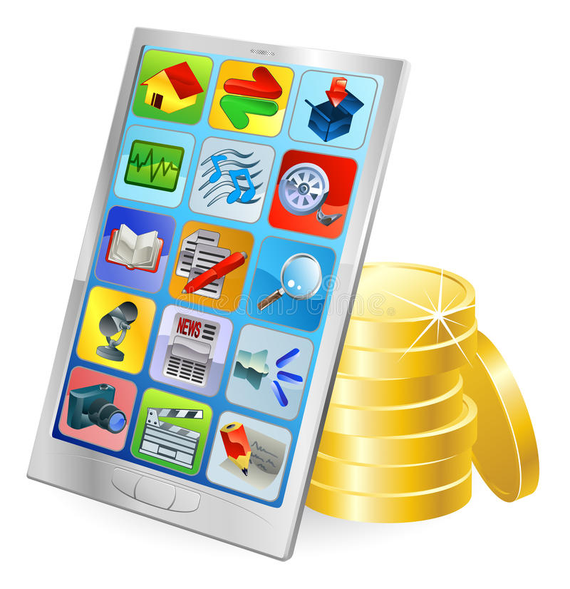 Phone or tablet PC money concept. Mobile phone or tablet PC gold coin money concept stock illustration