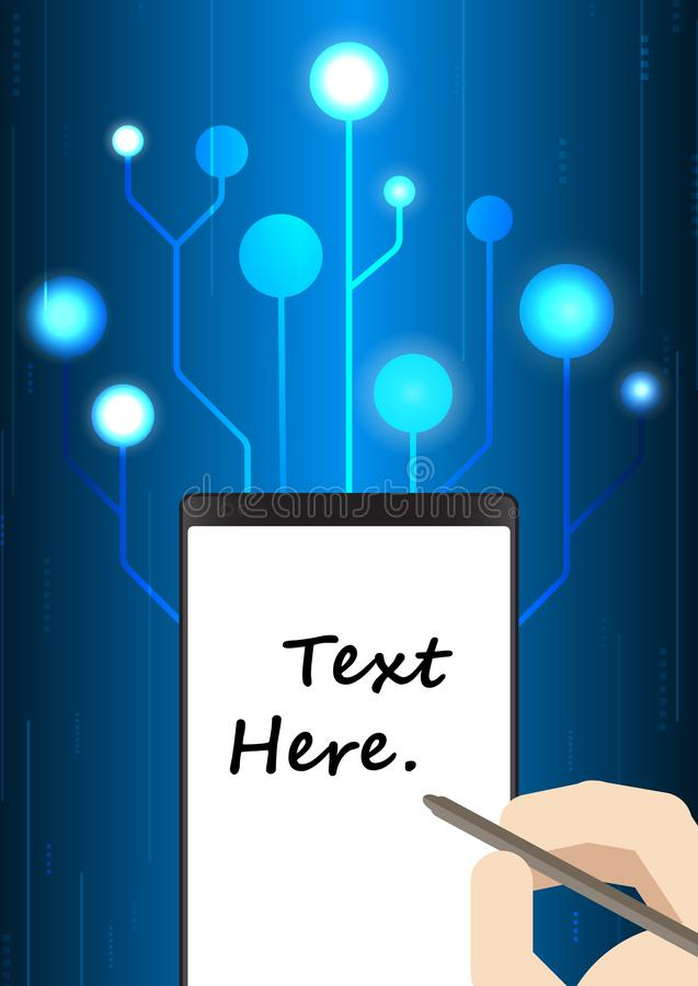 Writing hand on smart phone with technology background vector illustration