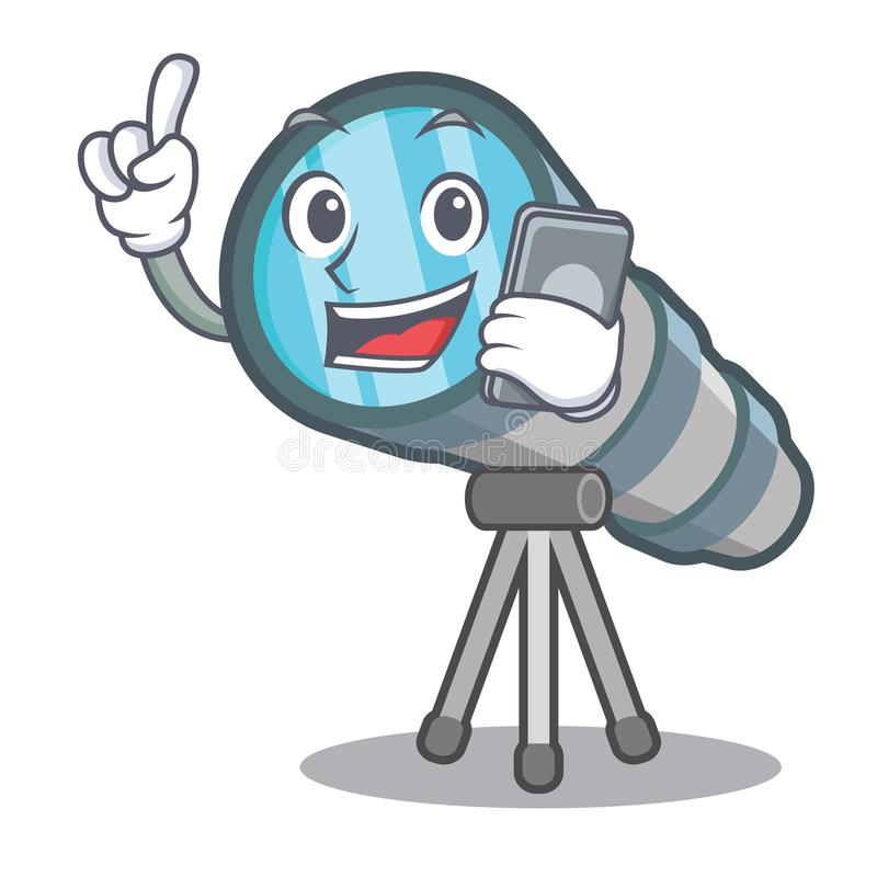 With phone telescope isolated with in the mascot. Vector illustration vector illustration