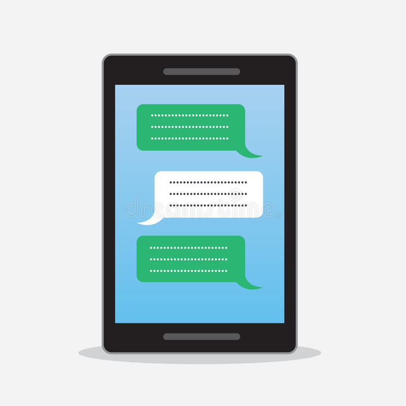 Phone Text Messages. Phone with text messages going back and forth royalty free illustration