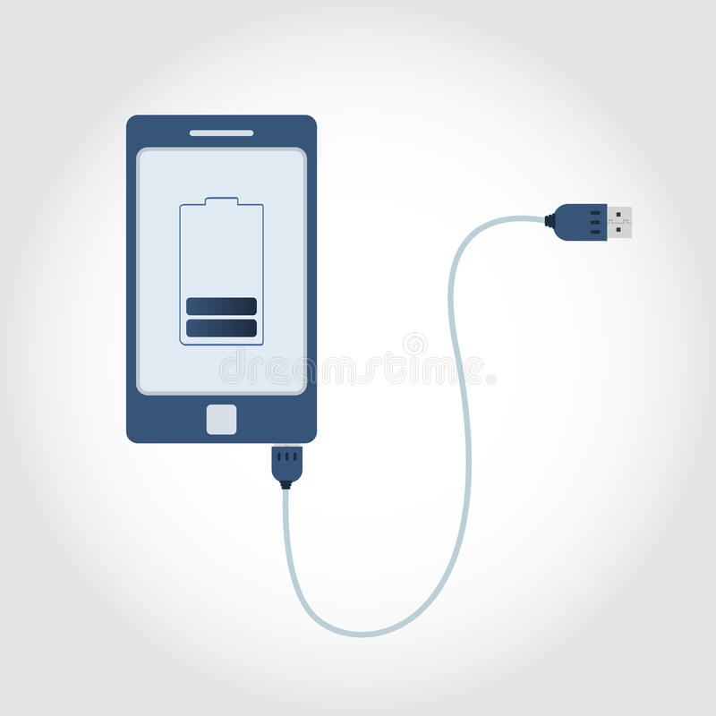 Phone with USB cable. Phone plugged in USB cable. Battery symbol on monitor showing charge level. Flat design stock illustration