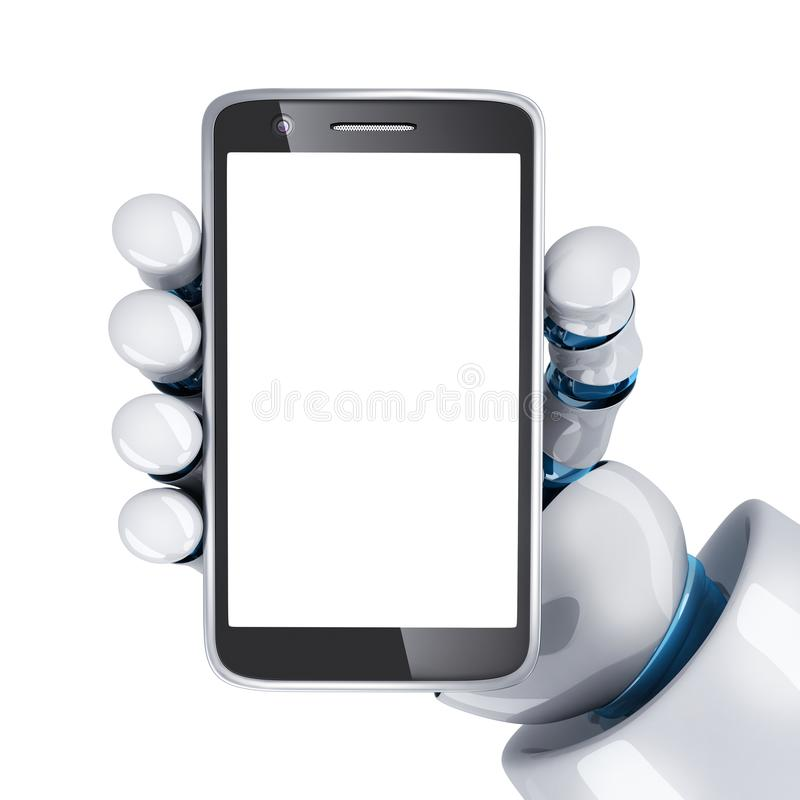 Phone view front and robot hand stock illustration