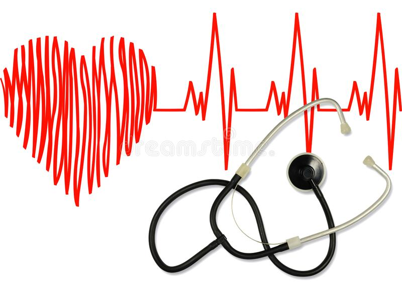 Phonendoscope and heart image. Phonendoscope on the image of the heart and cardiogram. Health care concept stock images