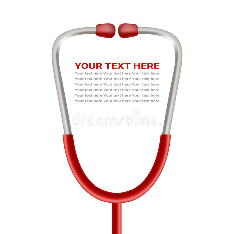 Phonendoscope vermelho, estetoscópio isolado em um fundo branco Ilustração realística do vetor ilustração stock