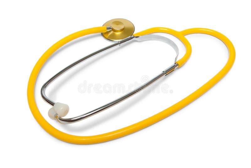 Phonendoscope. Yellow medical phonendoscope isolated on white background stock photography