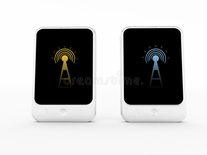 Phones connected to wireless royalty free illustration