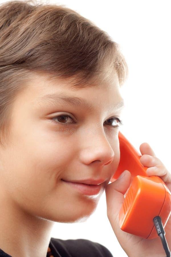 phones schoolboywhith arkivfoton