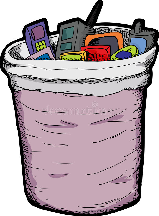 Download Phones In Trash stock vector. Image of abandoned, illustration - 23586376