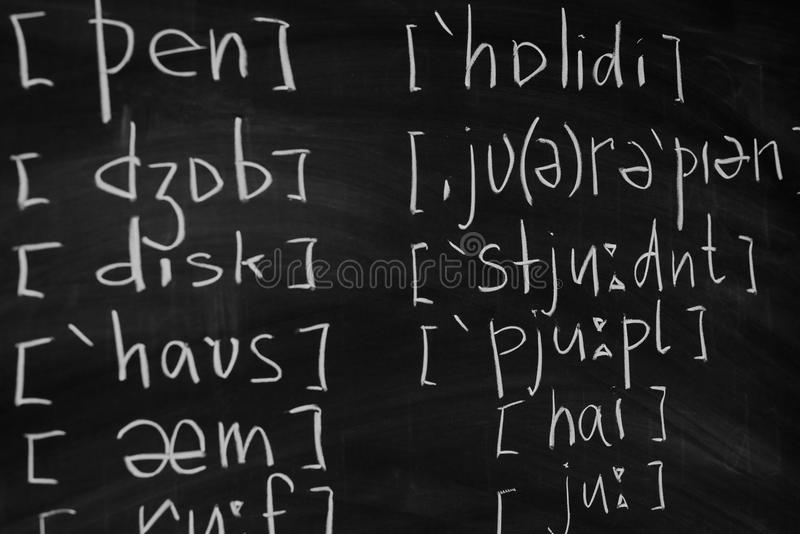 Phonetic and phonemic transcription of any language English class lesson learn. Phonetic and phonemic transcription of any language English class lesson learn stock image