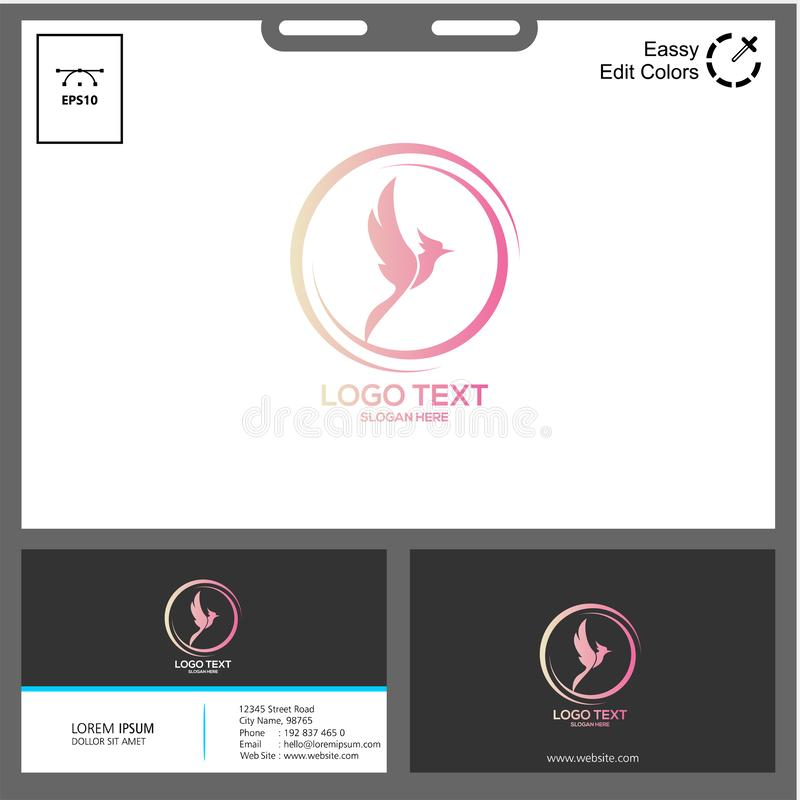 The simple concept of phonic logo. Phonic logo for technology industry can used in web, social media,flayer,etc spectrum eagle flamingo sticker bird beak feather stock illustration