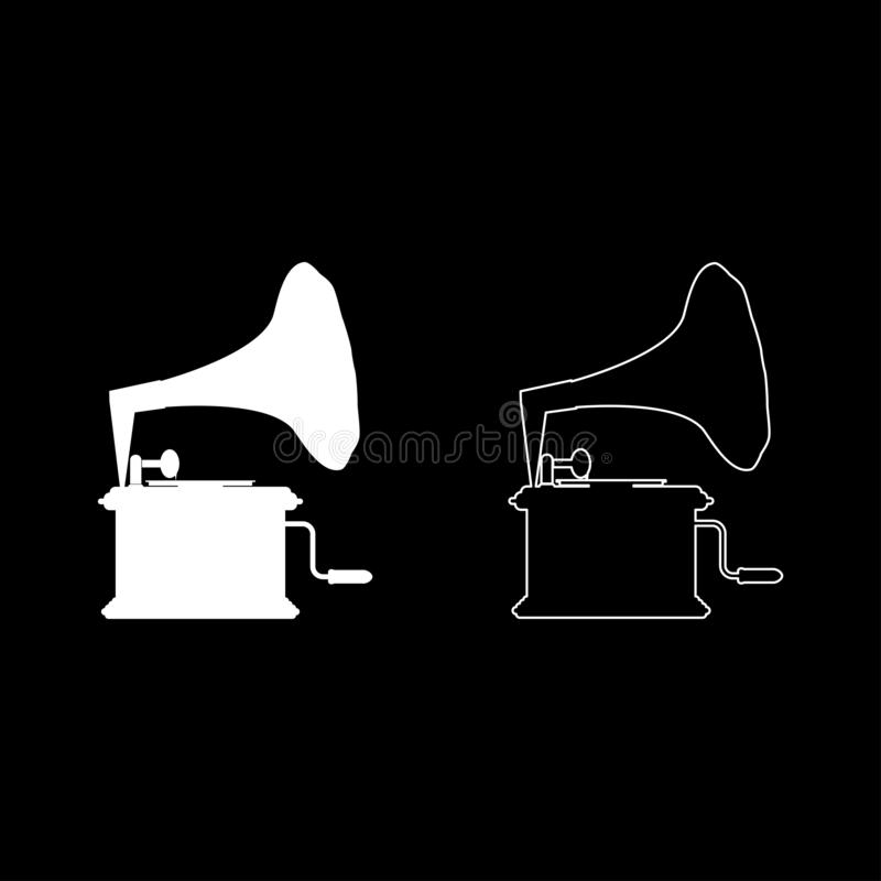 Phonograph Gramophone vintage Turntable for vinyl records icon outline set white color vector illustration flat style image. Phonograph Gramophone vintage stock illustration