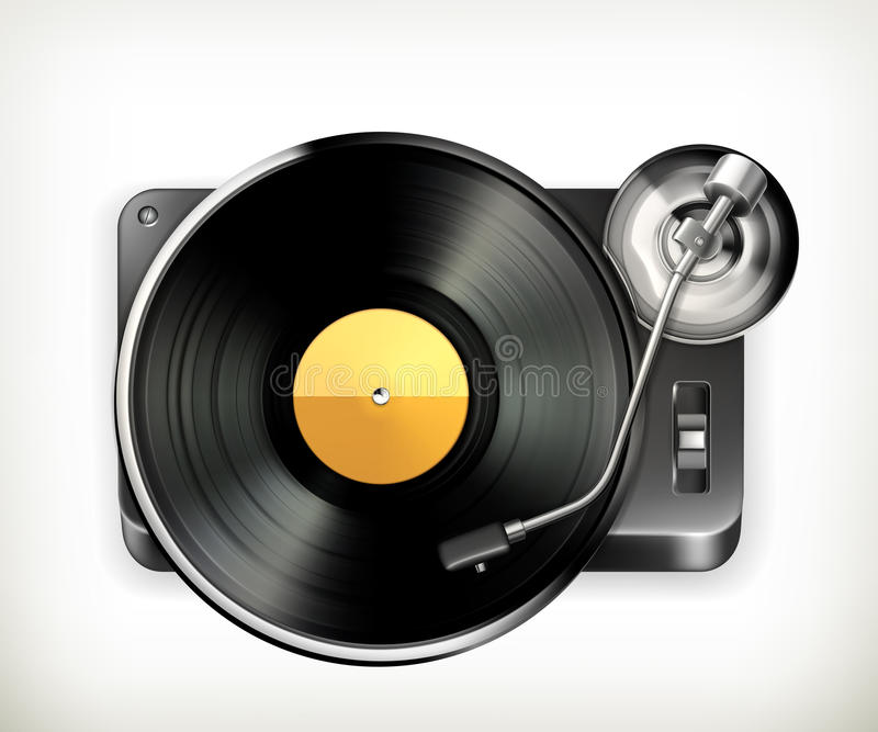 Phonograph turntable stock illustration