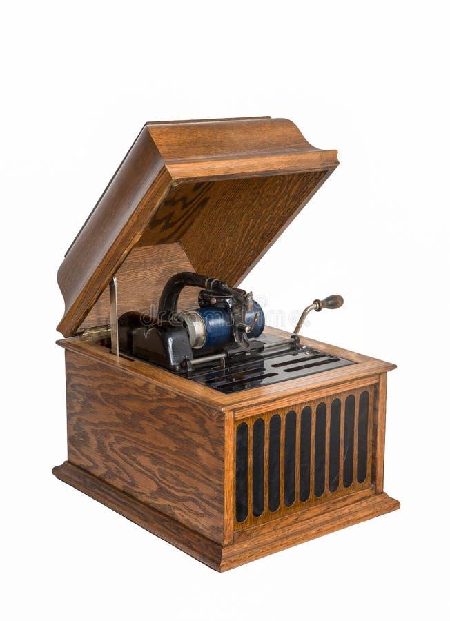 Phonographe de cylindre d'isolement sur le blanc photo stock