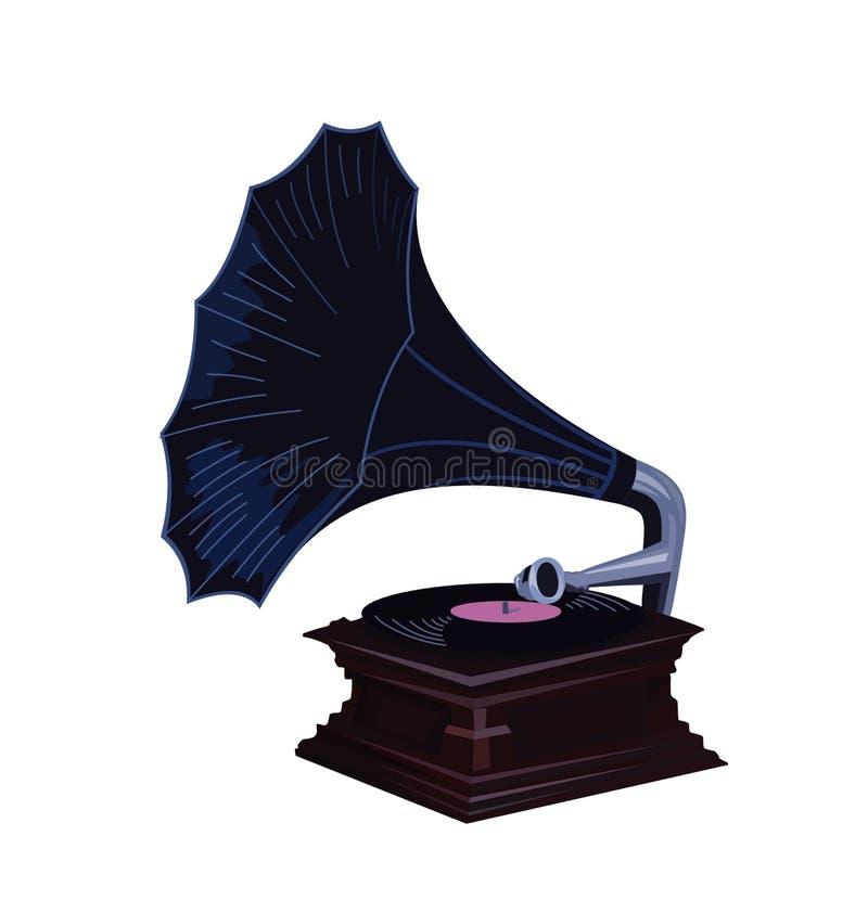 Phonographe de vintage avec la nuance bleu-foncé - le vieux phonographe a détaillé des graphiques de vecteur illustration libre de droits