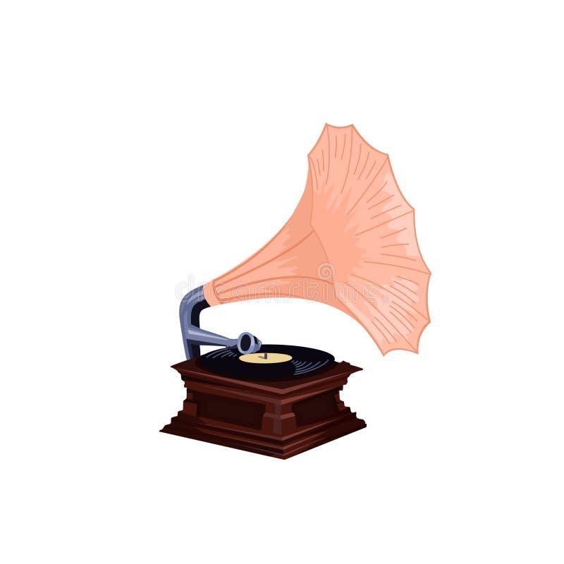 Phonographe de vintage - rétro vecteur détaillé de phonographe illustration libre de droits
