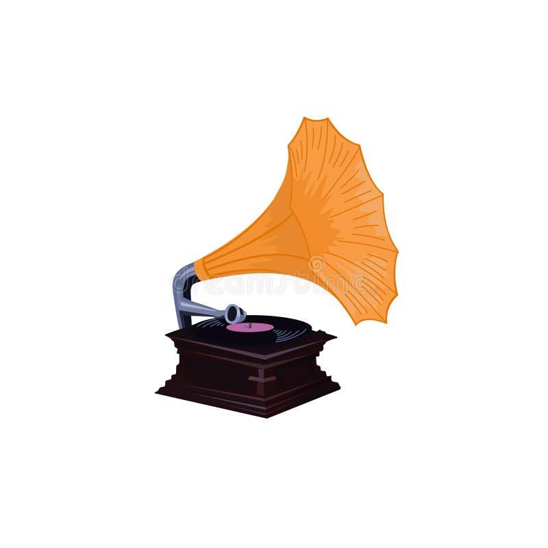Phonographe de vintage - rétro vecteur détaillé de phonographe illustration stock