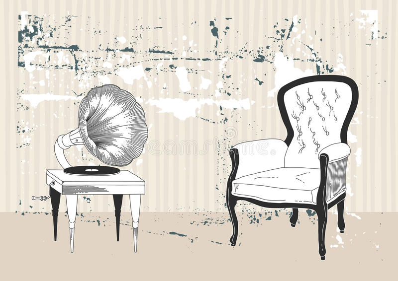 Phonographe et fauteuil illustration libre de droits