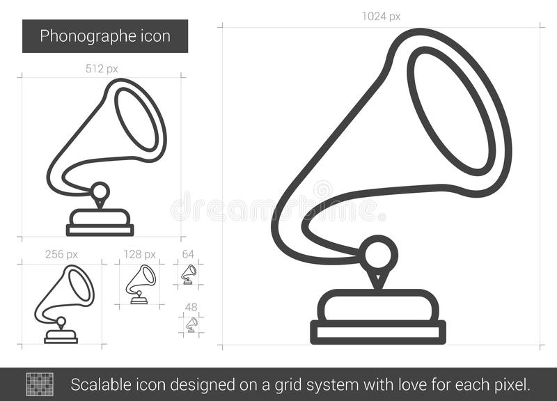 Phonographe linje symbol royaltyfri illustrationer