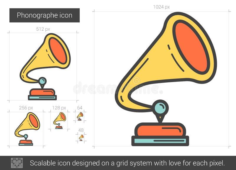 Phonographe linje symbol stock illustrationer
